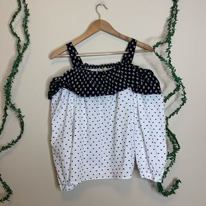 LOFT Polka Dot Cold Shoulder Blouse
